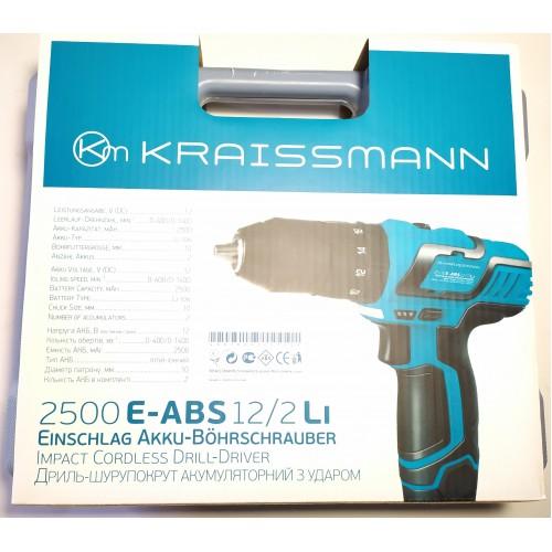 Ударный шуруповерт аккумуляторный Kraissmann 2500 E-ABS 12/2 Li